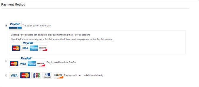 支払い方法は3種類から選択可能。クレジットカード払いが基本です
