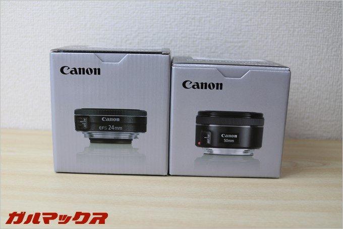 「EF50mm f/1.8STM」はフルスペックでも利用可能「EFS24mm f/2.8STM」はAPS-C専用となっています