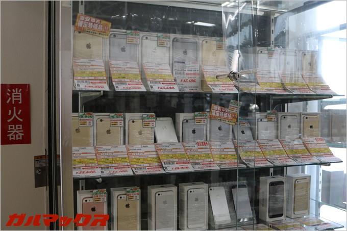 中古端末はiPhoneが多い。mineoではiPhoneの動作検証もしっかり行っているので安心だ