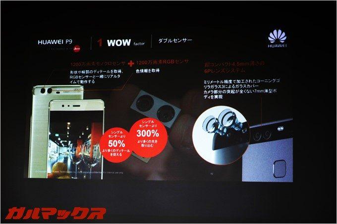 2つのレンズ、2つのセンサーを用いることで驚異的なカメラ性能を誇る「HUAWEI P9」。