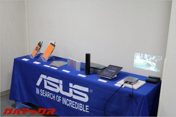 SIMフリースマートフォンだけではなく、ASUSのノートパソコン、タブレットPC、スマートウォッチ、プロジェクター、アクセサリー類も展示。