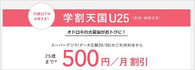 25歳以下の方が利用できるauの学割は月々500円割引だが指定の大容量データプランへの加入が必須となる