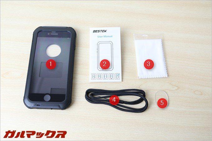 BESTEKの防水防塵iPhone7ケースの同梱品。