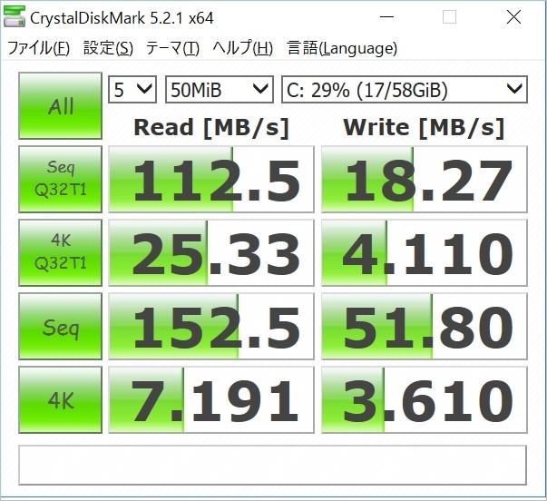 Jumper Ezbook 3に備わっているeMMCは読み込み速度がHDDの約10倍なので速さを体感できる。