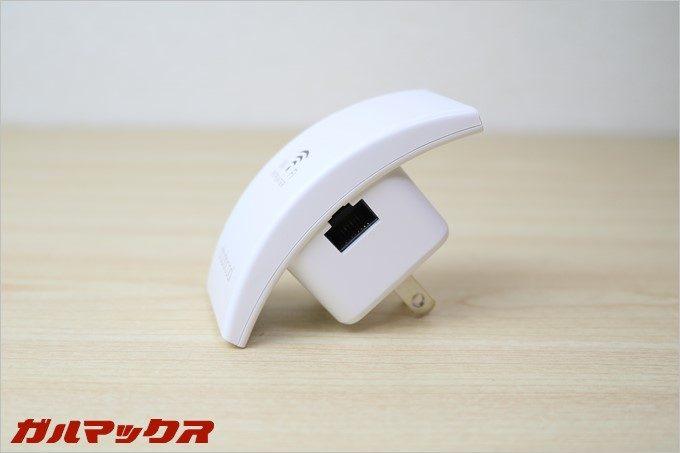 N300にはアクセスポイントモード利用時につかうLAN端子も備わっています。