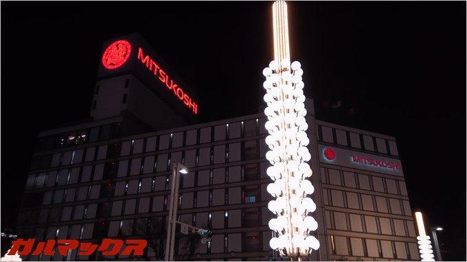RAIJINの夜間撮影。街頭
