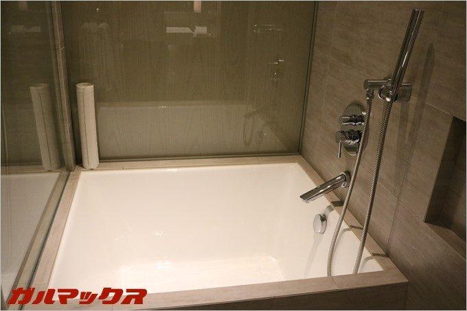 浴槽はベッドルーム側からの扉で目隠しも可能