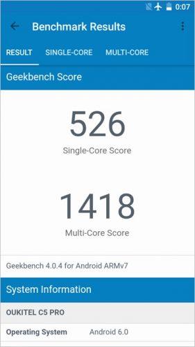 OUKITEL「C5 Pro」のGeekbench4はシングルコアが526、マルチコアが1418点。