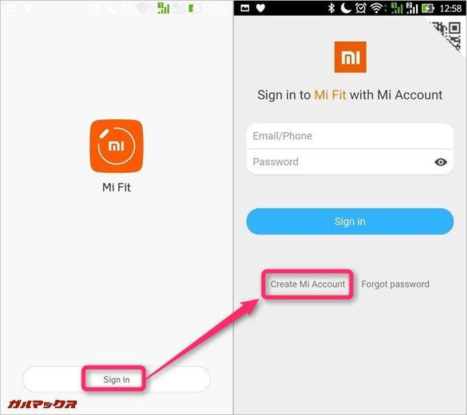 Create Mi Accountを選択します。