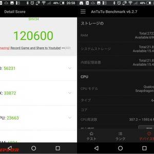 AQUOS SERIE SHV34(Snapdragon 820)の実機AnTuTuベンチマークスコア