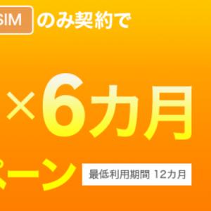 楽天モバイルの通話SIMのみ契約で1,000円×6ヶ月割引!