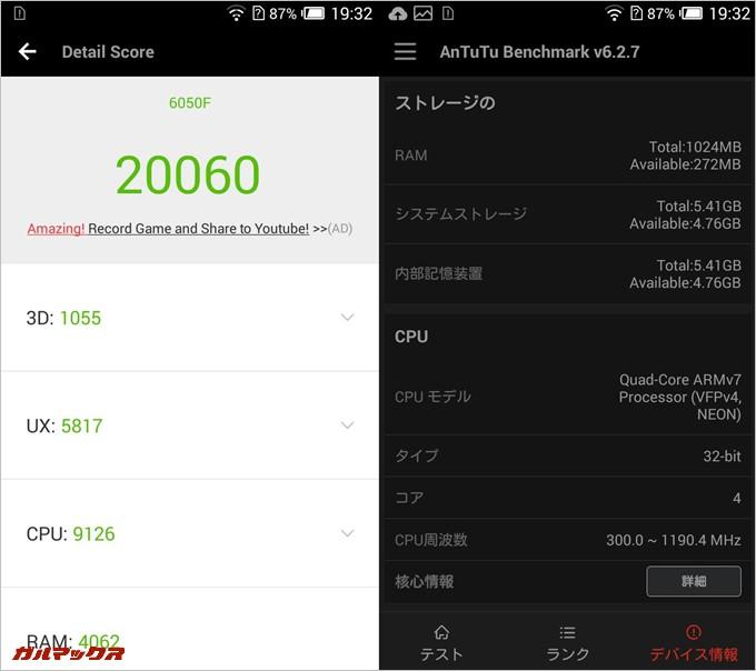 ALCATEL ONETOUCH IDOL 2S実機AnTuTuベンチマークスコアは総合が20060点、3D性能が1055点。