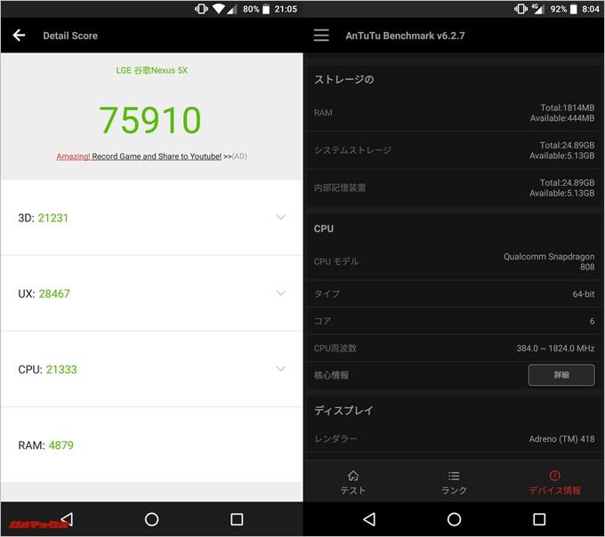 Nexus 5x(Android 8.0.0)実機AnTuTuベンチマークスコアは総合が75910点、3D性能が21231点。