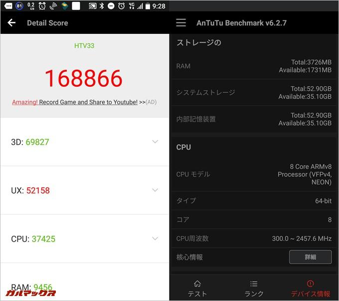 HTC U11-HTV33(au版)実機AnTuTuベンチマークスコアは総合が168866点、3D性能が69827点。