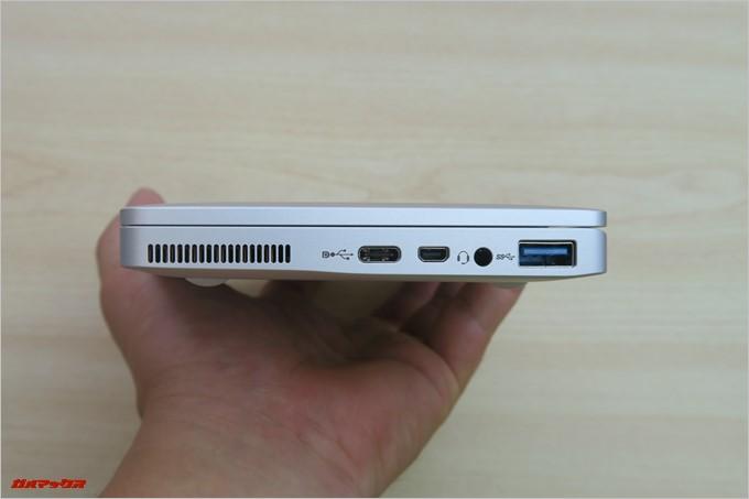画面の右側にはUSB AとUSB Type C、miniHDMI端子とイヤホンジャックが備わっています
