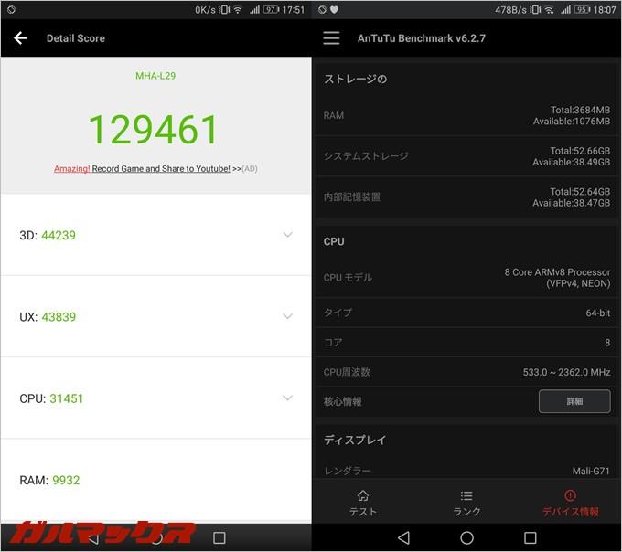 Huawei Mate9実機AnTuTuベンチマークスコアは総合が129461点、3D性能が44239点。