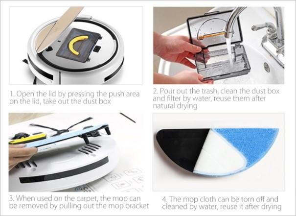 ダストボックス利用時はモップで乾拭きすることで細かなホコリもキャッチ