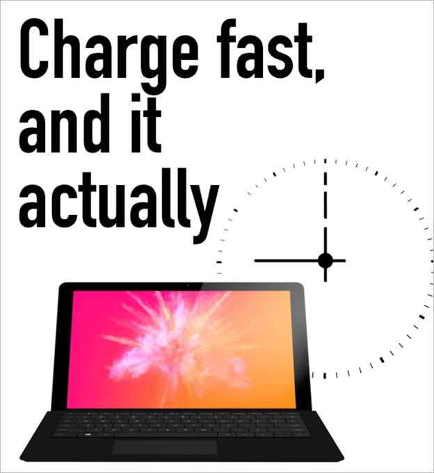 10,000mAhの大容量バッテリーを搭載することで長時間駆動を実現したSurBook