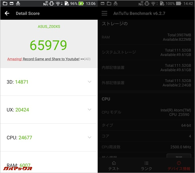 ZenFone Zoom(Android 5.0)実機AnTuTuベンチマークスコアは総合が65979点、3D性能が14871点。