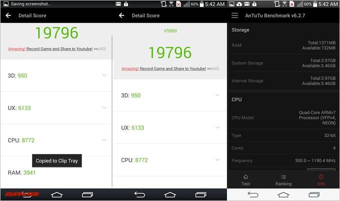 LG G Vista(Android 4.4.2)実機AnTuTuベンチマークスコアは総合が19796点、3D性能が950点。