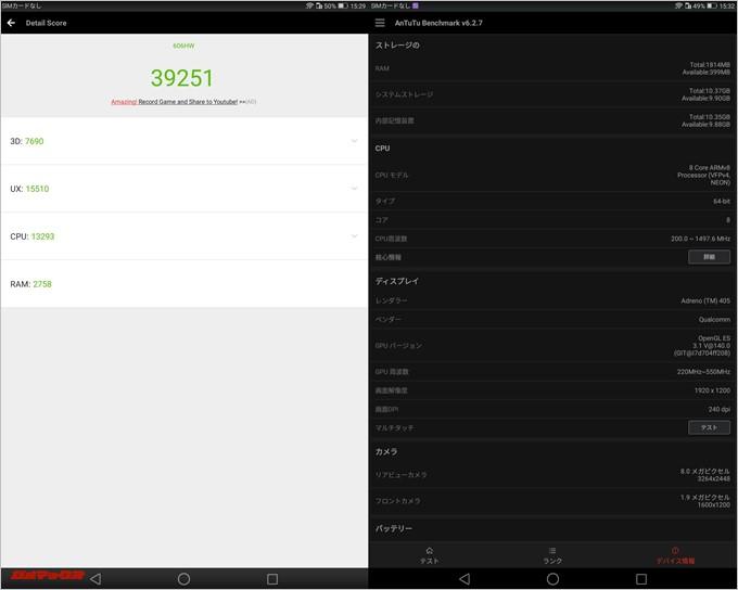 MediaPad T2 Pro(Android 6.0.1)実機AnTuTuベンチマークスコアは総合が39251点、3D性能が7690点。
