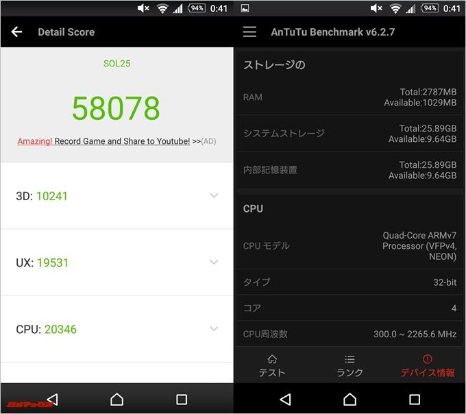 Xperia ZL2(Android 5.0.2)実機AnTuTuベンチマークスコアは総合が58078点、3D性能が10241点。