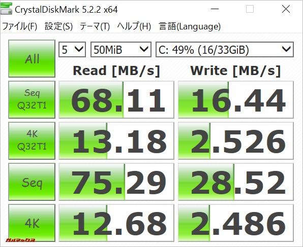 Teclast Tbook 16 Powerの保存領域はHDDよりも遥かに早い