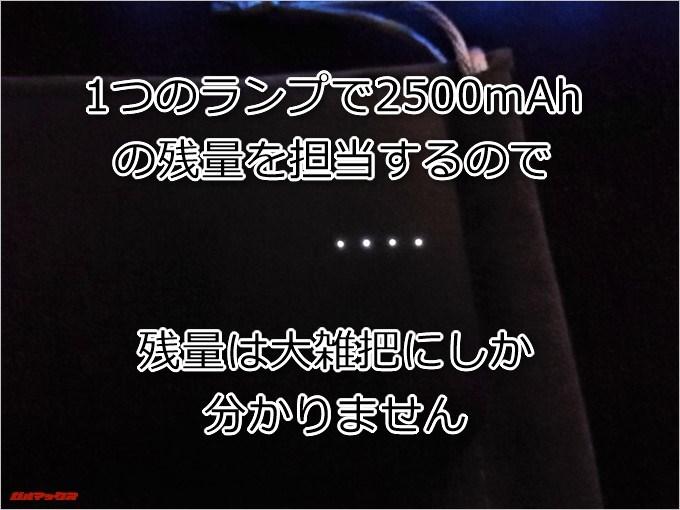 dodocool DP21は残量インジケーターが4つのランプで表示されているので大雑把にしか残量が分かりません