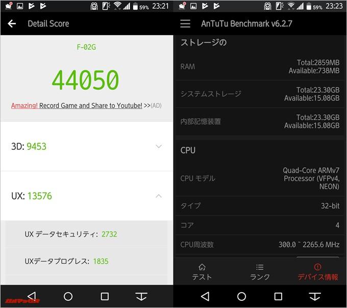 ARROWS F-02G(Android 5.0.2)実機AnTuTuベンチマークスコアは総合が44050点、3D性能が9453点。