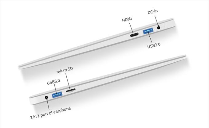Jumper EZbook 3SEはUSBが2つ、MicroSDスロットが1つ、MiniHDIも備わっています