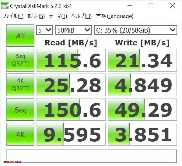 T-Bao Tbook4 14.1のストレージじはHDDよりも遥かに早いです!