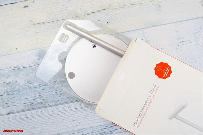 Jelly Combのヘッドホンスタンドの梱包は専用のプラスティックトレイに入っており丁寧な印象でした