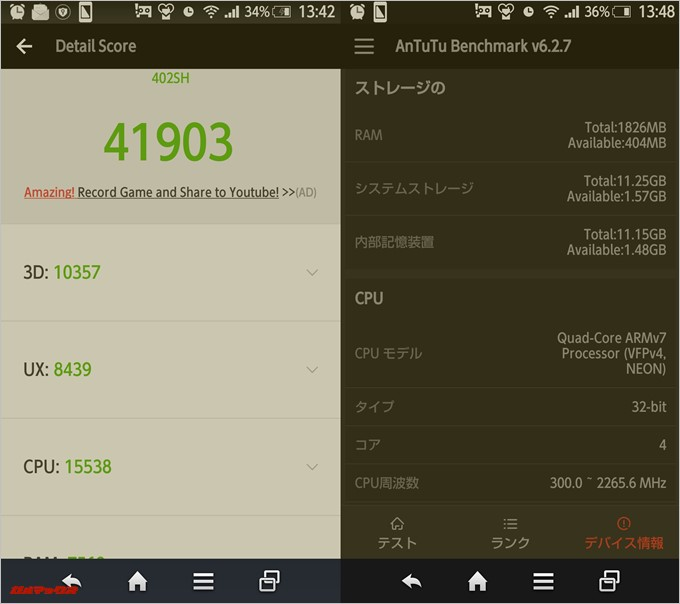 AQUOS CRYSTAL Y (Android 4.4.4)実機AnTuTuベンチマークスコアは総合が41903点、3D性能が10357点。