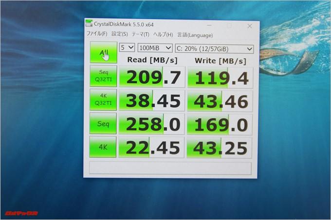 Jumper EZbook 3SEのemmcは書き込み速度が非常に速かったです。