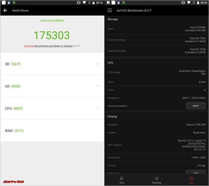 Nokia 8(Android 7.1.1)実機AnTuTuベンチマークスコアは総合が175303点、3D性能が70679点。