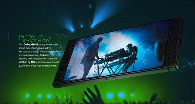 Razer PhoneはDolby ATMOSやTHX認定のオーディオに対応しています