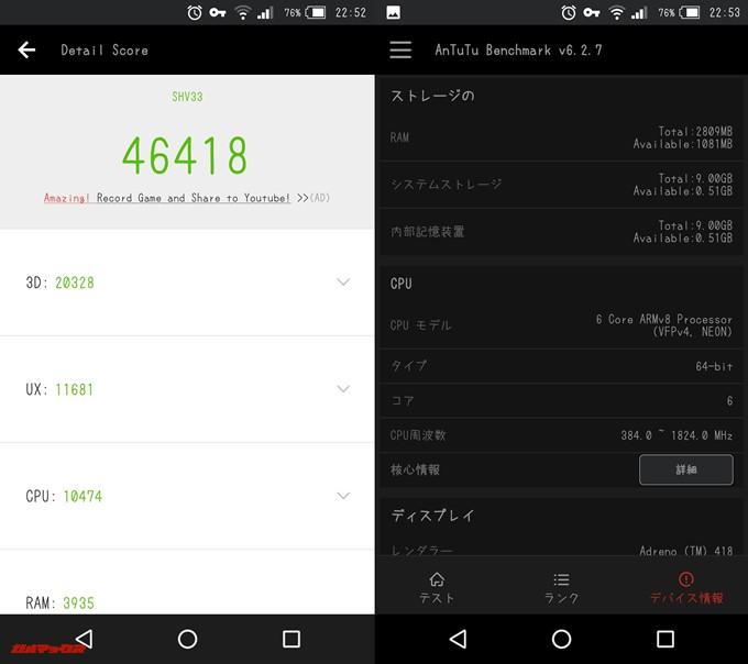 AQUOS SERIE mini(Android 7.0)実機AnTuTuベンチマークスコアは総合が46418点、3D性能が20328点。