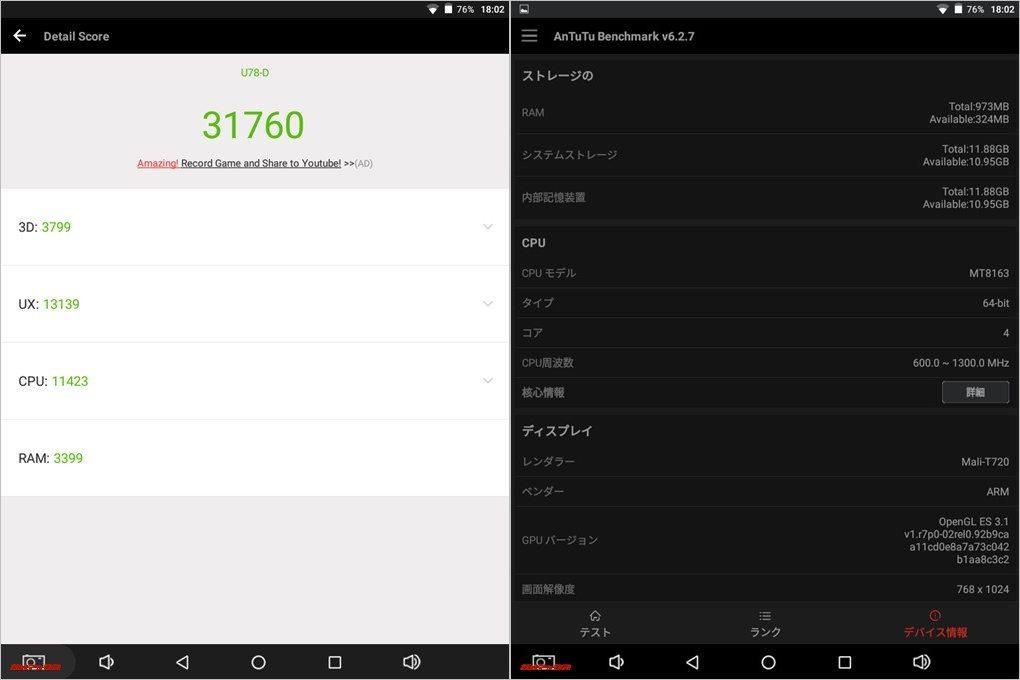 CUBE iPlay 8実機AnTuTuベンチマークスコアは総合が31760点、3D性能が3799点。