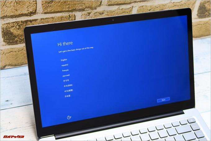 Chuwi LapBook AIRは初回起動時点から日本語が選択可能です。