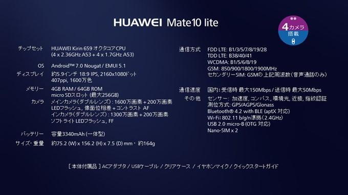 HUAWEI Mate 10 liteの仕様表