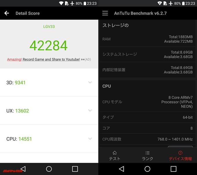 Qua phone PX(Android 7.0)実機AnTuTuベンチマークスコアは総合が42284点、3D性能が9341点。