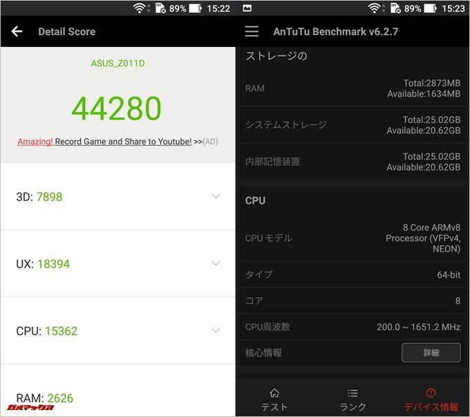 Zenfone 2 Laser/ZE601KL(Android 6.0.1)実機AnTuTuベンチマークスコアは総合が44280点、3D性能が7898点。