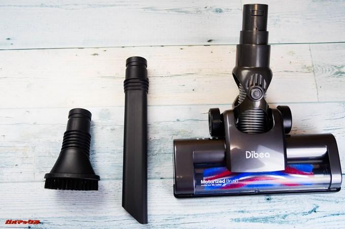Dibea 2-in-1 Wireless Vacuum Cleaneに付属のノズルは標準ノズル以外に隙間用、ブラシタイプの2種が付属しています。