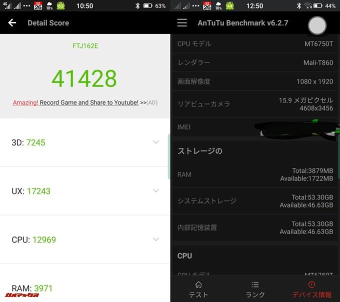 FREETEL雷神(Android 7.0)実機AnTuTuベンチマークスコアは総合が41428点、3D性能が7245点。