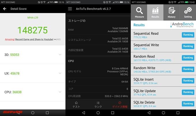 Huawei Mate9(Android 7.0)2台目の実機AnTuTuベンチマークスコアは総合が148275点、3D性能が55053点。