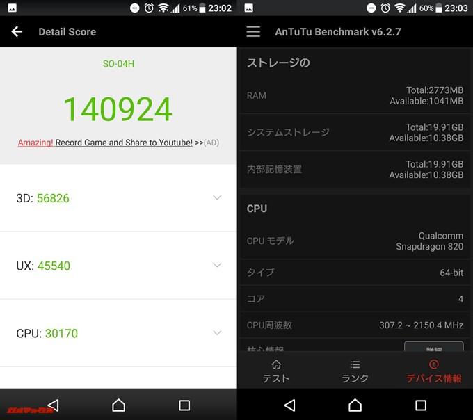 Xperia X Performance(Android 7.0)実機AnTuTuベンチマークスコアは総合が140924点、3D性能が56826点。
