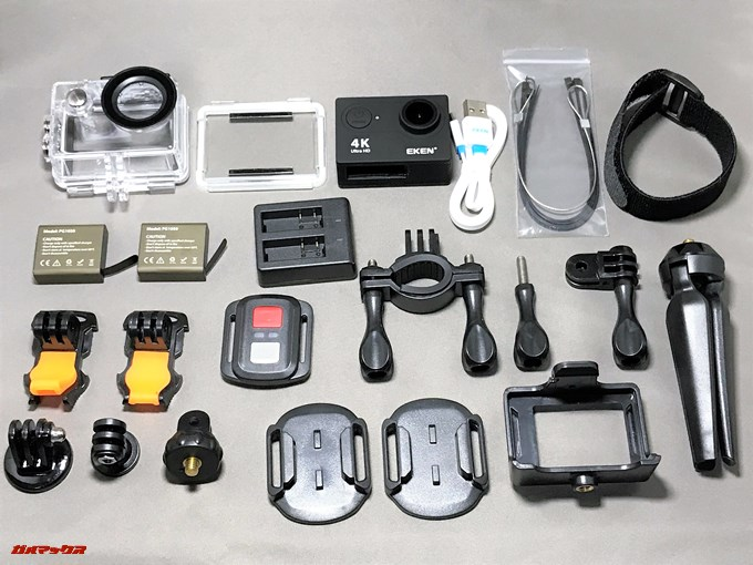 EKEN H9sは様々なアタッチメントが付属しているので別途購入する必要がありません。