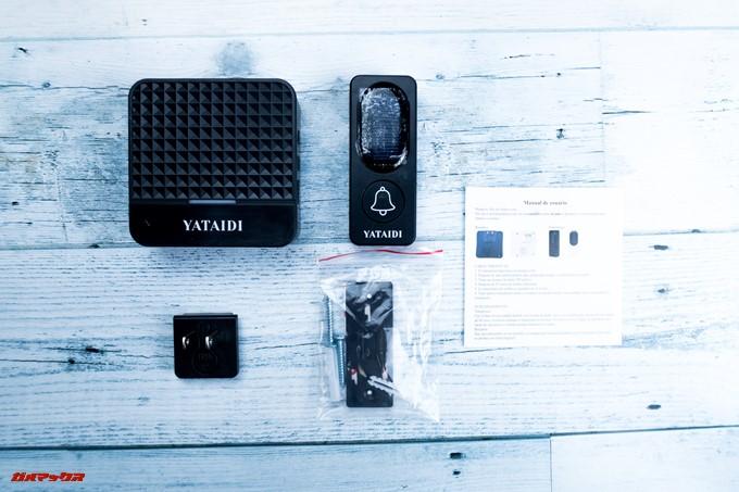YATAIDI ワイヤレス チャイムには取付用の両面テープが付属するなど必要なものは揃ってます。