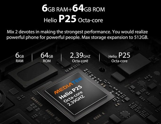 OUKITEL MIX 2はHelio P25、メモリ6GB、保存容量64GBで非常に高性能です