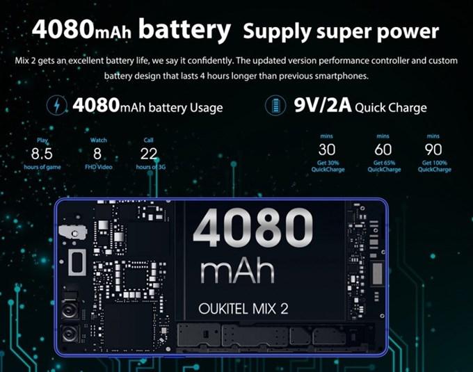 OUKITEL MIX 2は大容量な4080mAhのバッテリーと9V2Aの超急速充電に対応しています